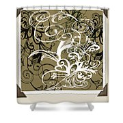Coffee Flowers 1 Olive Scrapbook Shower Curtain