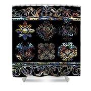 Coffee Flowers Ornate Medallions 6 Piece Collage Aurora Borealis Shower Curtain