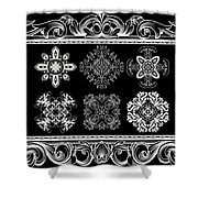Coffee Flowers Ornate Medallions Bw 6 Piece Collage Framed  Shower Curtain