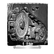 Cog And Chain In Rust Black And White Shower Curtain