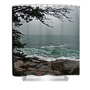 Cold Green Surf Shower Curtain by Skip Willits