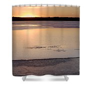 Cold Lake Sunset Shower Curtain