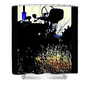 Cold Morning Tractor  Shower Curtain