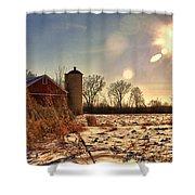 Cold Winter Barn Shower Curtain