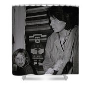 Colette With Mamma Chris In Their Ice Kiosk In Denmark At The Time  Shower Curtain