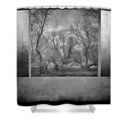 Collage Misty Trees Shower Curtain