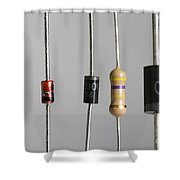 Collection Of Electronic Components Shower Curtain by Photo Researchers