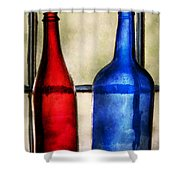 Collector - Bottles - Two Empty Wine Bottles  Shower Curtain