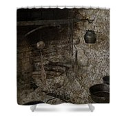 Colonial Fireplace Cooking Arrangement Shower Curtain