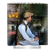 Colonial Man In Kitchen Shower Curtain