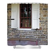 Colonial Shutters Window Frame Stone Wall Wood Box Shower Curtain