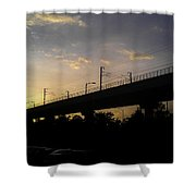 Color Of Sunset Over Metro Pillar In Delhi Shower Curtain