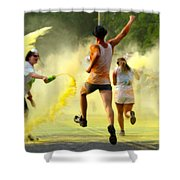 Color Run Happy Shower Curtain