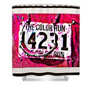 Color Run Number Shower Curtain