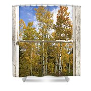 Colorado Autumn Aspens Picture Window View Shower Curtain