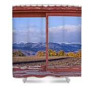 Colorado Country Red Rustic Picture Window Frame Photo Art Shower Curtain