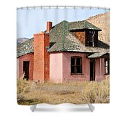 Colorful Abandoned Home In Dying Farm Town Shower Curtain