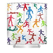 Colorful Acrylic Stickmen Characters Shower Curtain