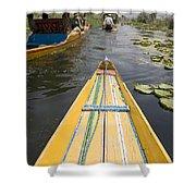 Colorful Boats On Dal Lake Dal Lake Shower Curtain