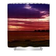 Colorful Clouds Over Ocean At Sunset Shower Curtain