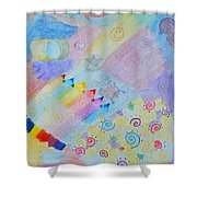 Colorful Doodling Original Art Shower Curtain
