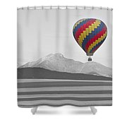 Colorful Hot Air Balloon And Longs Peak Shower Curtain