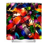 Colorful Lit Water Bottles Shower Curtain