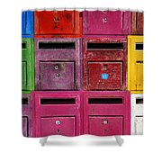 Colorful Mailboxes Shower Curtain