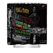 Colorful Neon Sign On Bourbon Street Corner French Quarter New Orleans Glowing Edges Digital Art Shower Curtain