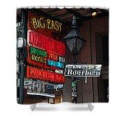 Colorful Neon Sign On Bourbon Street Corner French Quarter New Orleans Poster Edges Digital Art Shower Curtain