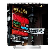 Colorful Neon Sign On Bourbon Street Corner French Quarter New Orleans Watercolor Digital Art Shower Curtain