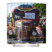 Colorful Painted Hippie Bus Shower Curtain