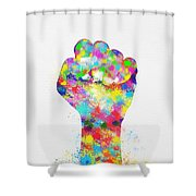 Colorful Painting Of Hand Shower Curtain