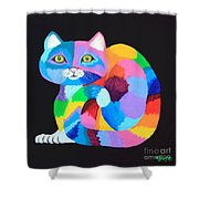 Colorful Rainbow Cat Shower Curtain
