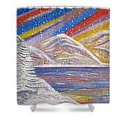Colorful Snow Shower Curtain