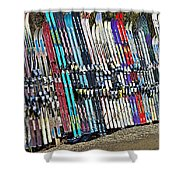 Colorful Snow Skis Shower Curtain