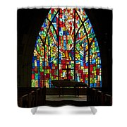 Colorful Stained Glass Chapel Window Shower Curtain