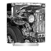 Colorful Vintage Car In Black And White Shower Curtain