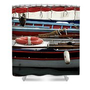 Colorful Wooden Boats Shower Curtain