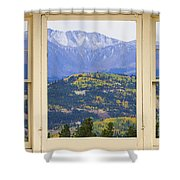 Colorful Rocky Mountain Autumn Picture Window View Shower Curtain