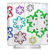 Coloured Snowflakes Isolated Shower Curtain