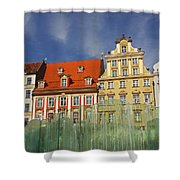 Colourful Buildings And Fountain Shower Curtain