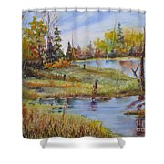 colours Of Elk Island Shower Curtain