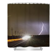 Come Into The Light Lightning Strike Shower Curtain