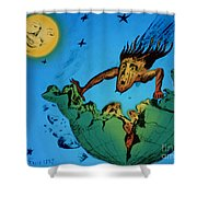 Comet Colliding With Earth Shower Curtain