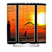 Coming Home Sunset Triptych Series Shower Curtain