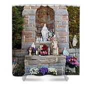 Comparison Mother Mary Shrine Shower Curtain
