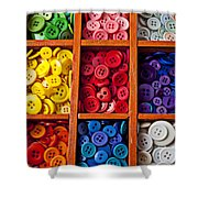 Compartments Full Of Buttons Shower Curtain by Garry Gay