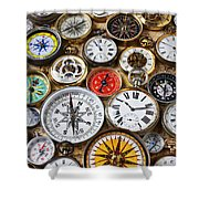 Compases And Pocket Watches  Shower Curtain by Garry Gay