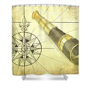 Compass And Monocular Shower Curtain